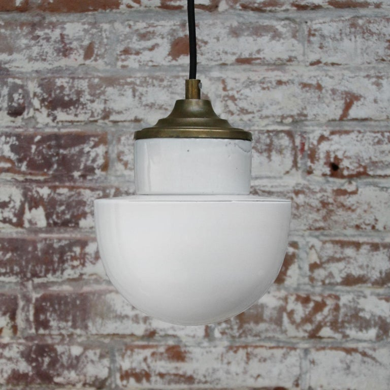 20th Century White Porcelain Opaline Glass Vintage Industrial Brass Pendant Lights For Sale