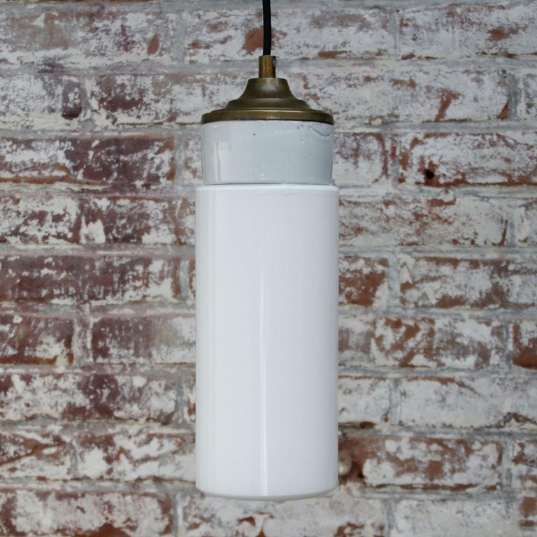 20th Century White Porcelain Opaline Glass Vintage Industrial Brass Pendant Lights For Sale