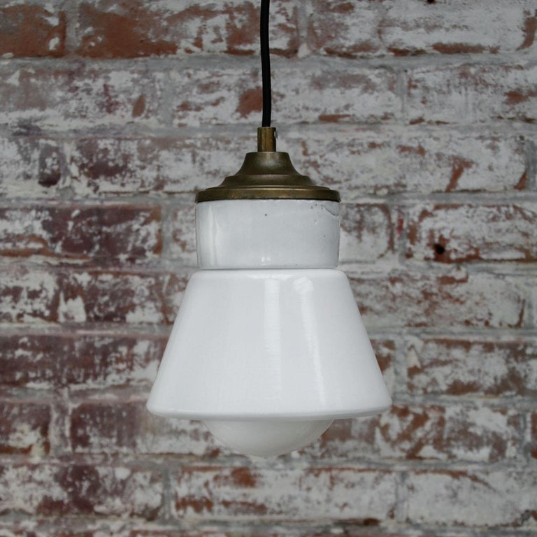 White Porcelain Opaline Glass Vintage Industrial Brass Pendant Lights For Sale 1