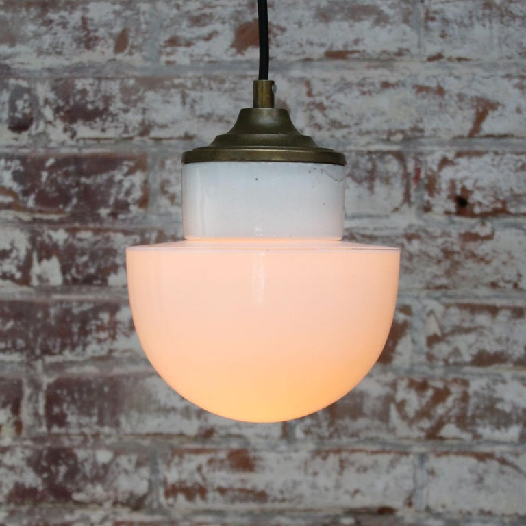 White Porcelain Opaline Glass Vintage Industrial Brass Pendant Lights For Sale 1