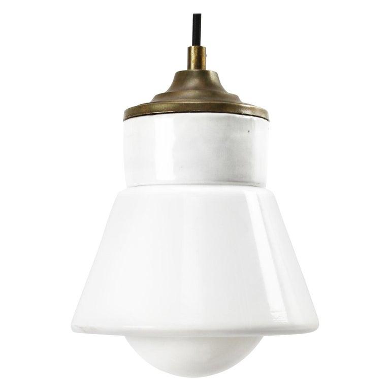 White Porcelain Opaline Glass Vintage Industrial Brass Pendant Lights For Sale