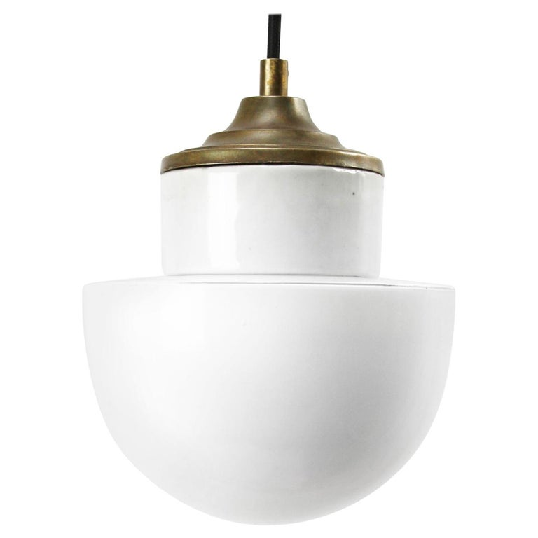 White Porcelain Opaline Glass Vintage Industrial Brass Pendant Lights For Sale