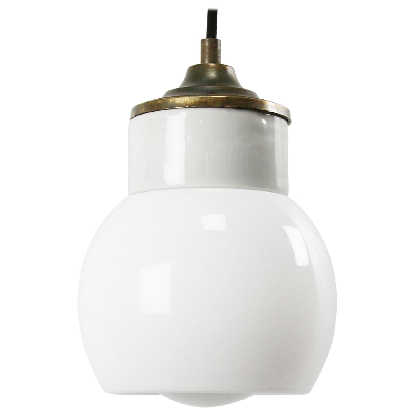 White Porcelain Opaline Glass Vintage Industrial Brass Pendant Lights
