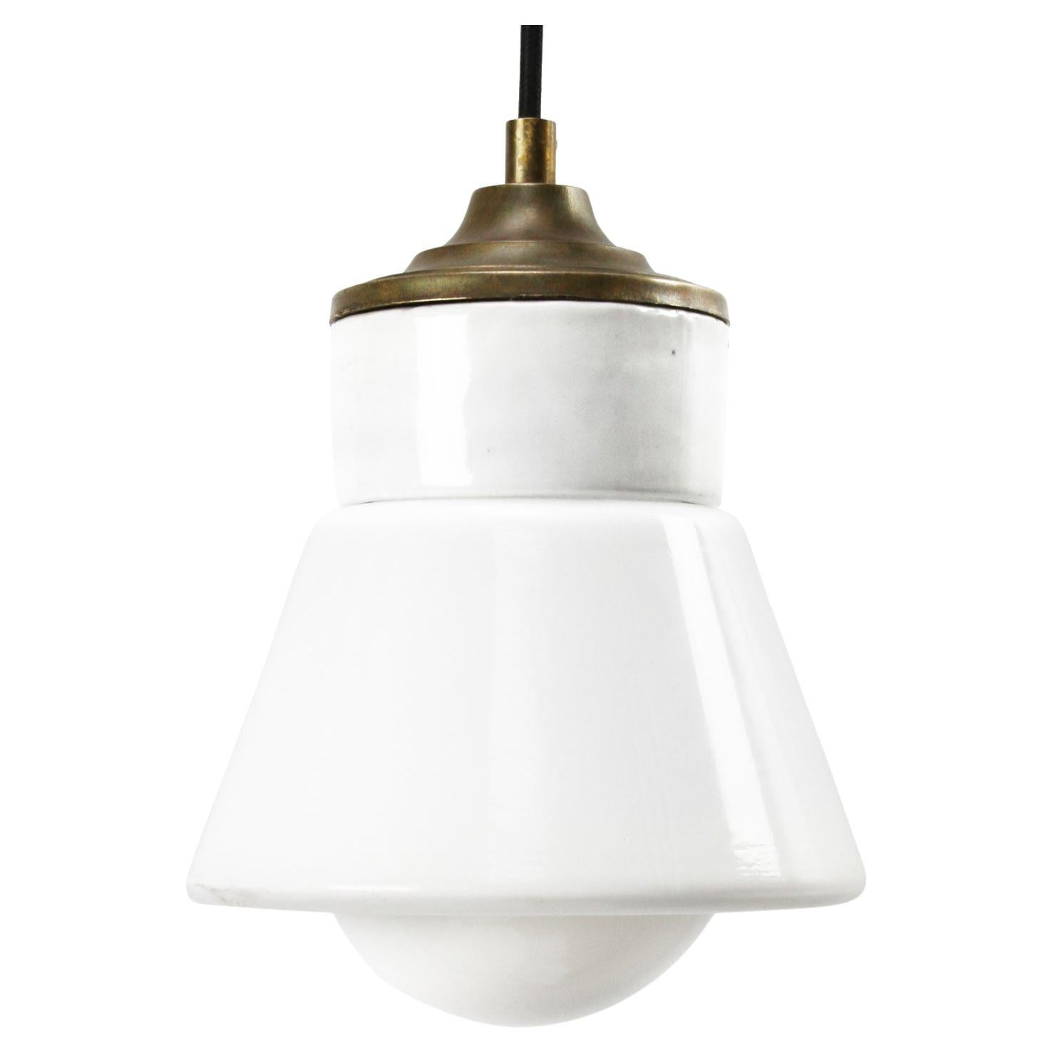 White Porcelain Opaline Glass Vintage Industrial Brass Pendant Lights