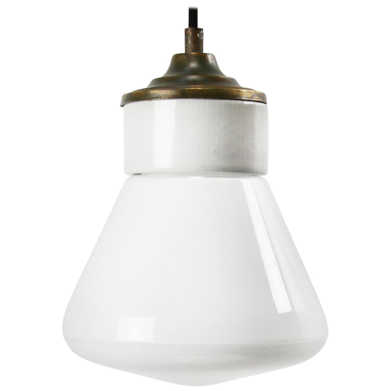 White Porcelain Opaline Milk Glass Vintage Brass Pendant Lights