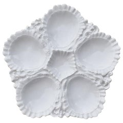 White Porcelain Oyster Plate or Platter with 5 Wells, Limoges France, 1900s