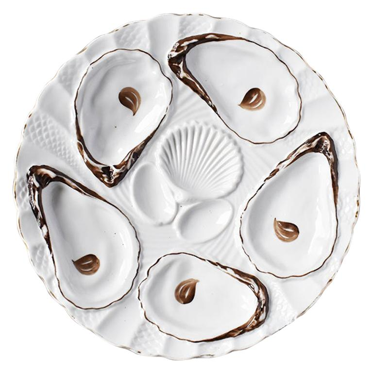 White Porcelain Oyster Serving Plate in Brown and Gold, 1800s, Germany