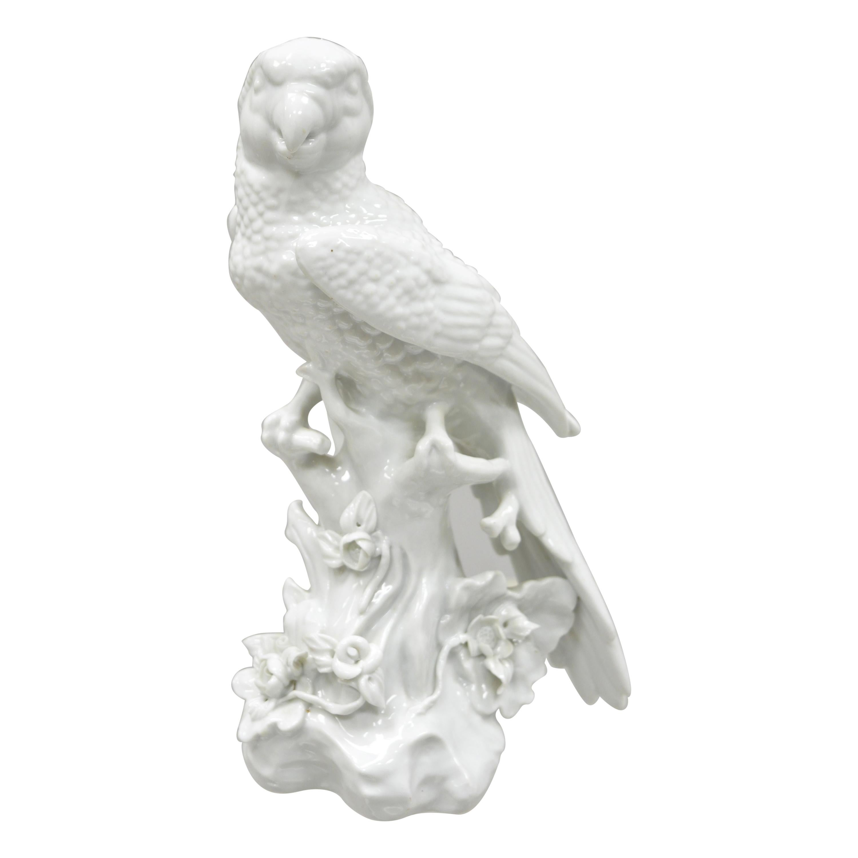White Porcelain Parrot Figure Statue 5 Point Crown N Capodimonte or German