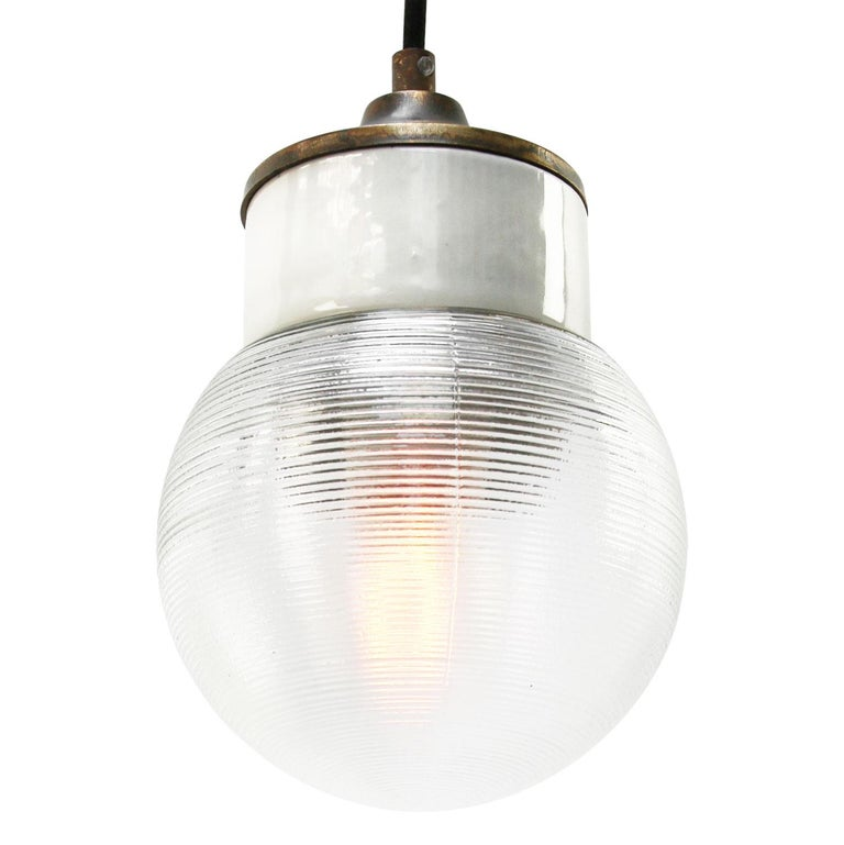 Porcelain industrial hanging lamp. White porcelain, brass and clear striped glass. 2 conductors, no ground.  Weight: 1.20 kg / 2.6 lb  Priced per individual item. All lamps have been made suitable by international standards for incandescent