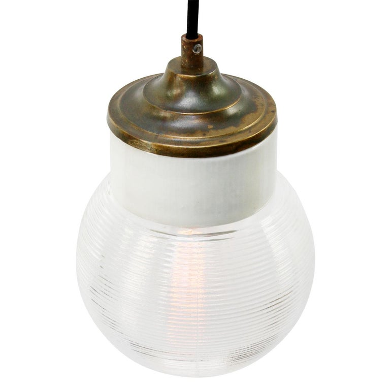 Dutch White Porcelain Ribbed Clear Glass Vintage Industrial Brass Pendant Lights For Sale