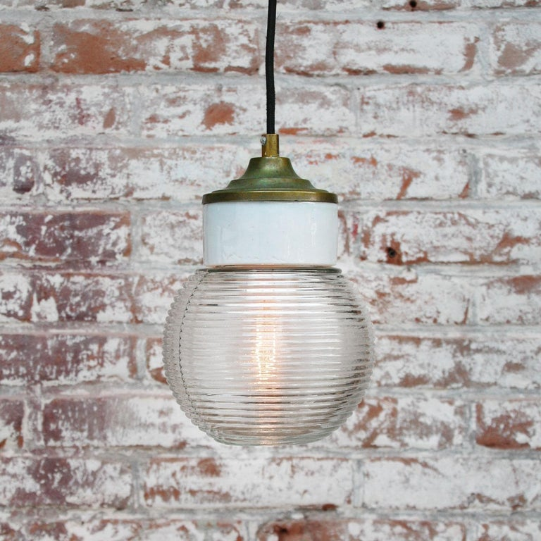 White Porcelain Ribbed Clear Glass Vintage Industrial Brass Pendant Lights In Good Condition For Sale In Amsterdam, NL