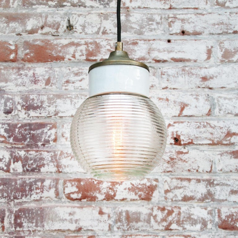 20th Century White Porcelain Ribbed Clear Glass Vintage Industrial Brass Pendant Lights For Sale