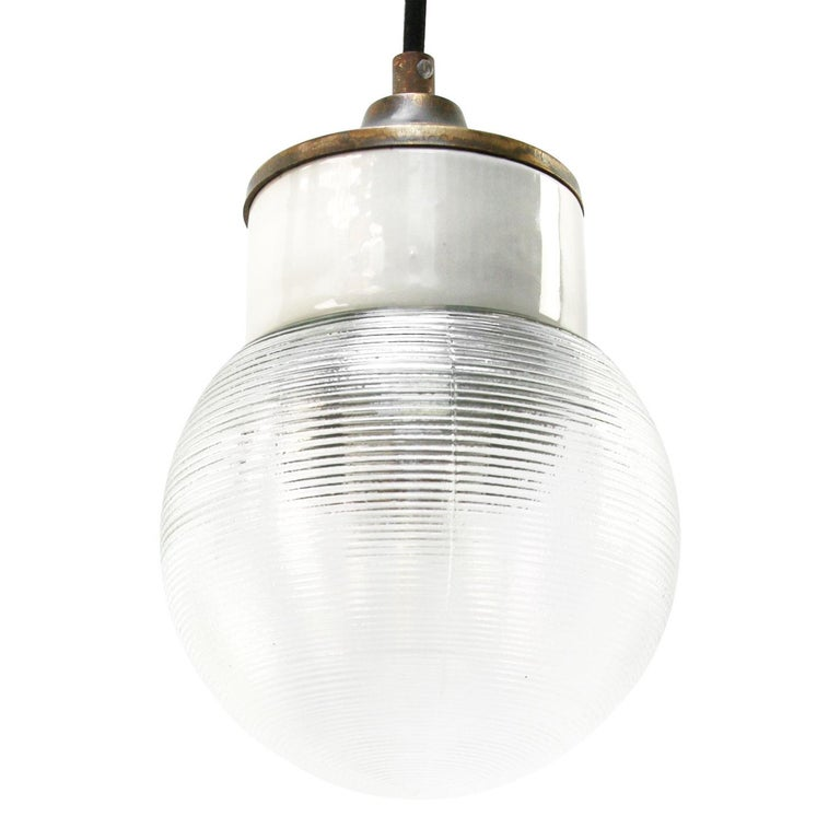 White Porcelain Ribbed Clear Glass Vintage Industrial Brass Pendant Lights For Sale 1