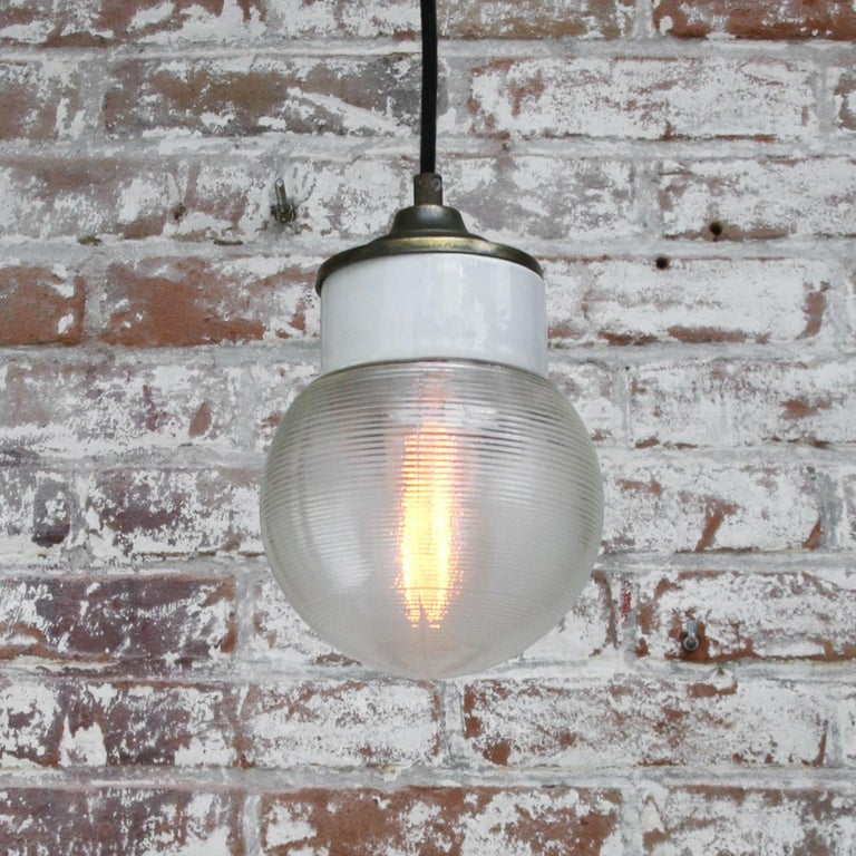White Porcelain Ribbed Clear Glass Vintage Industrial Brass Pendant Lights For Sale 2