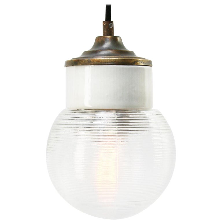 White Porcelain Ribbed Clear Glass Vintage Industrial Brass Pendant Lights For Sale