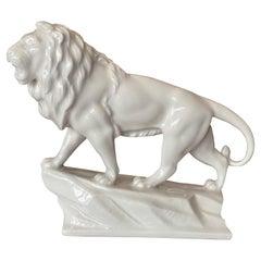 White Porcelain Sculpture of a Lion, Mid 20th Century
