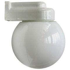 White Porcelain Vintage Bauhaus Opaline Glass Wall Lamp Scones