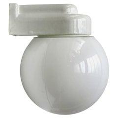White Porcelain Vintage Bauhaus Opaline Glass Wall Lamp Scone