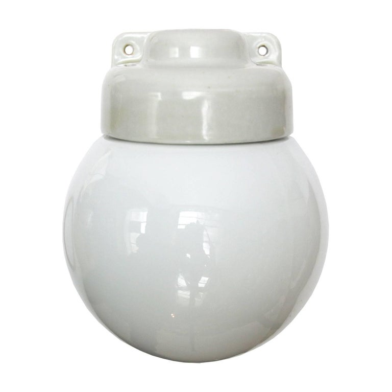 White Porcelain Vintage Bauhaus Opaline Glass Wall Lamps Scones In Good Condition For Sale In Amsterdam, NL