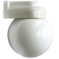 White Porcelain Vintage Bauhaus Opaline Glass Wall Lamps Scones