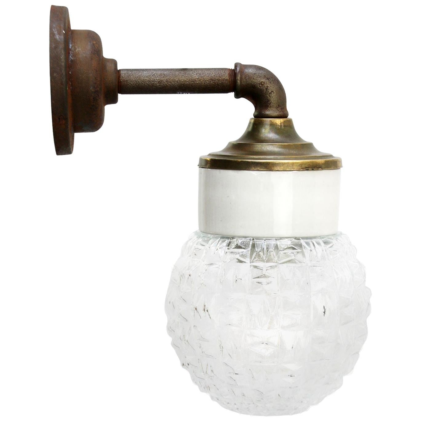 White Porcelain Vintage Industrial Clear Glass Brass Wall Lamp Scones
