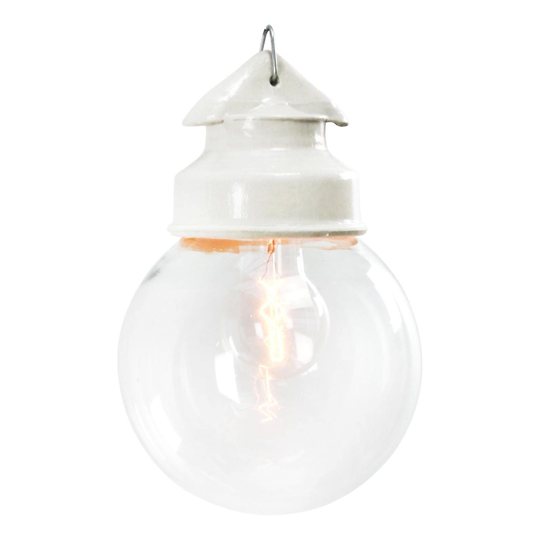 White Porcelain Vintage Industrial Clear Glass Pendant Lights
