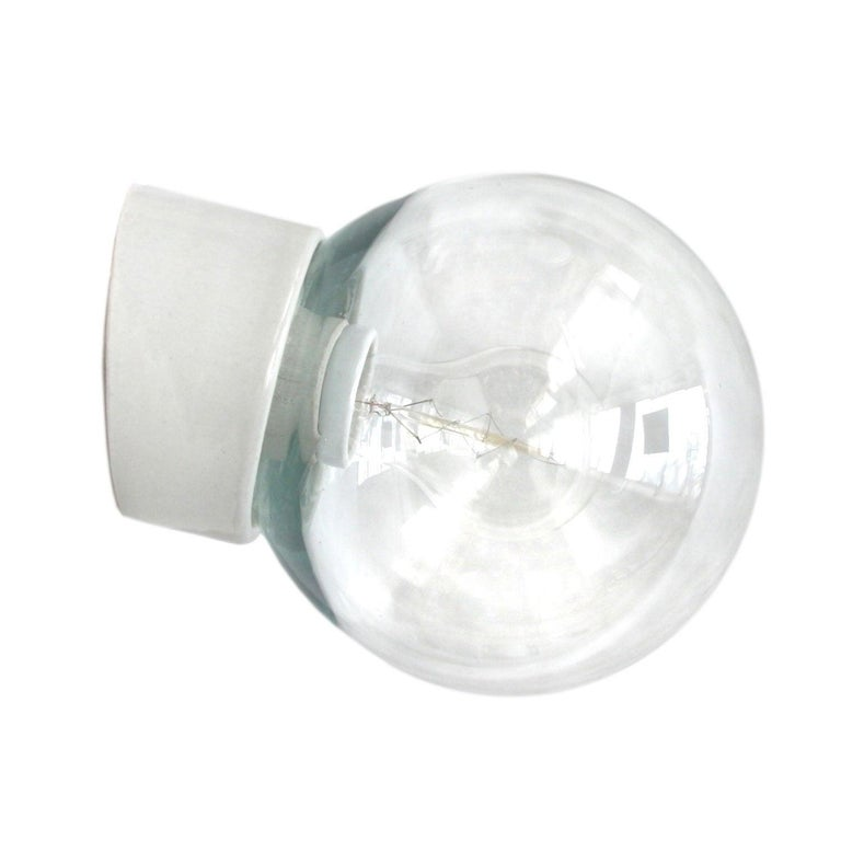 White Porcelain Vintage Industrial Clear Glass Wall Lamp Scones For Sale
