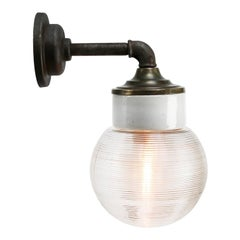 White Porcelain Vintage Industrial Clear Striped Glass Brass Wall Lamp Scones
