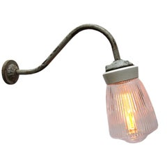 White Porcelain Vintage Industrial Holophane Glass Cast Iron Wall Lights (38x)
