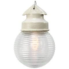 White Porcelain Vintage Industrial Holophane Glass Pendant Lights