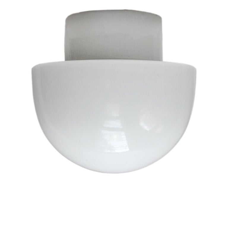 German White Porcelain Vintage Industrial Opaline Glass Wall Ceiling Lamp Scones For Sale