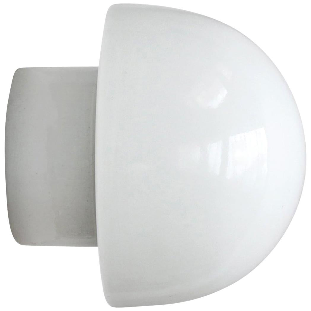 White Porcelain Vintage Industrial Opaline Glass Wall Ceiling Lamp Scones