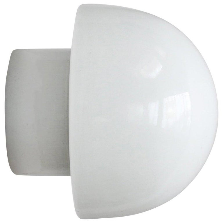 White Porcelain Vintage Industrial Opaline Glass Wall Ceiling Lamp Scones For Sale