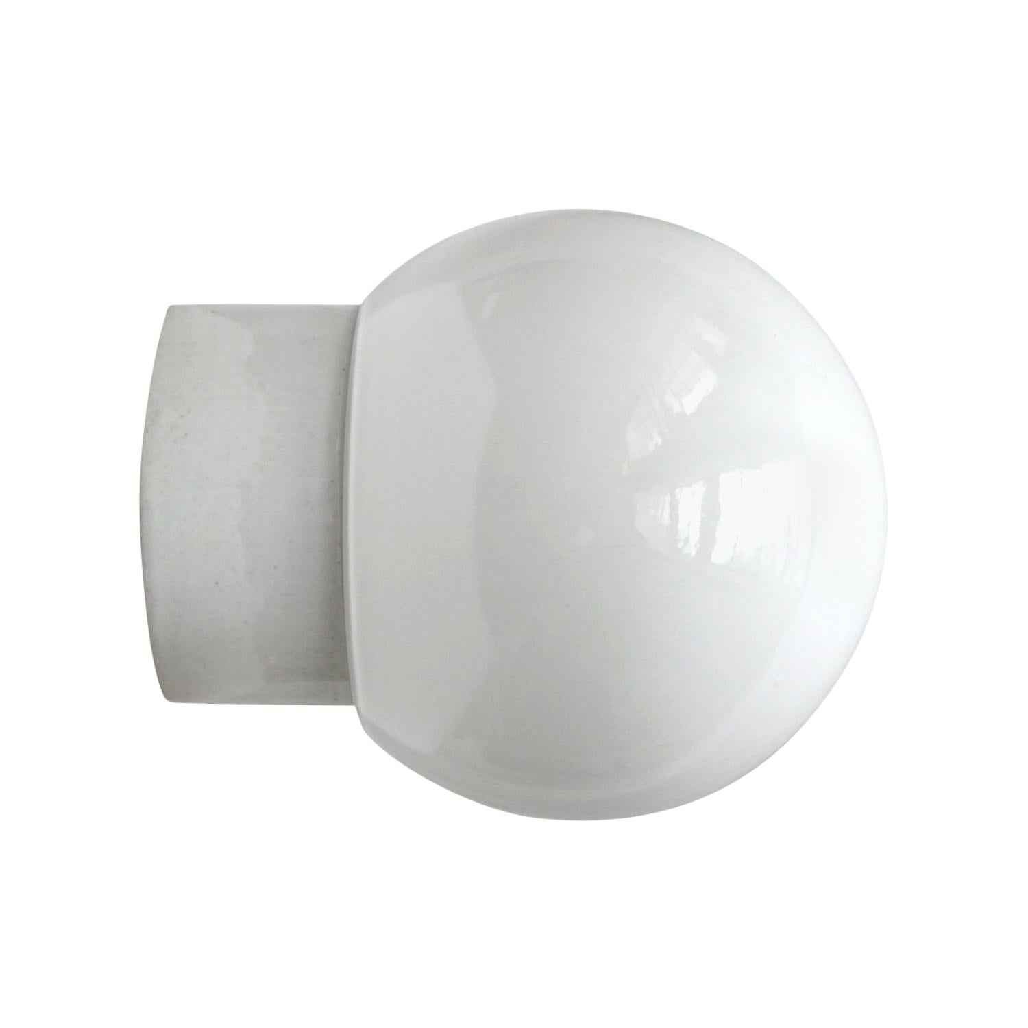 White Porcelain Vintage Industrial Opaline Glass Wall Lamp Scone