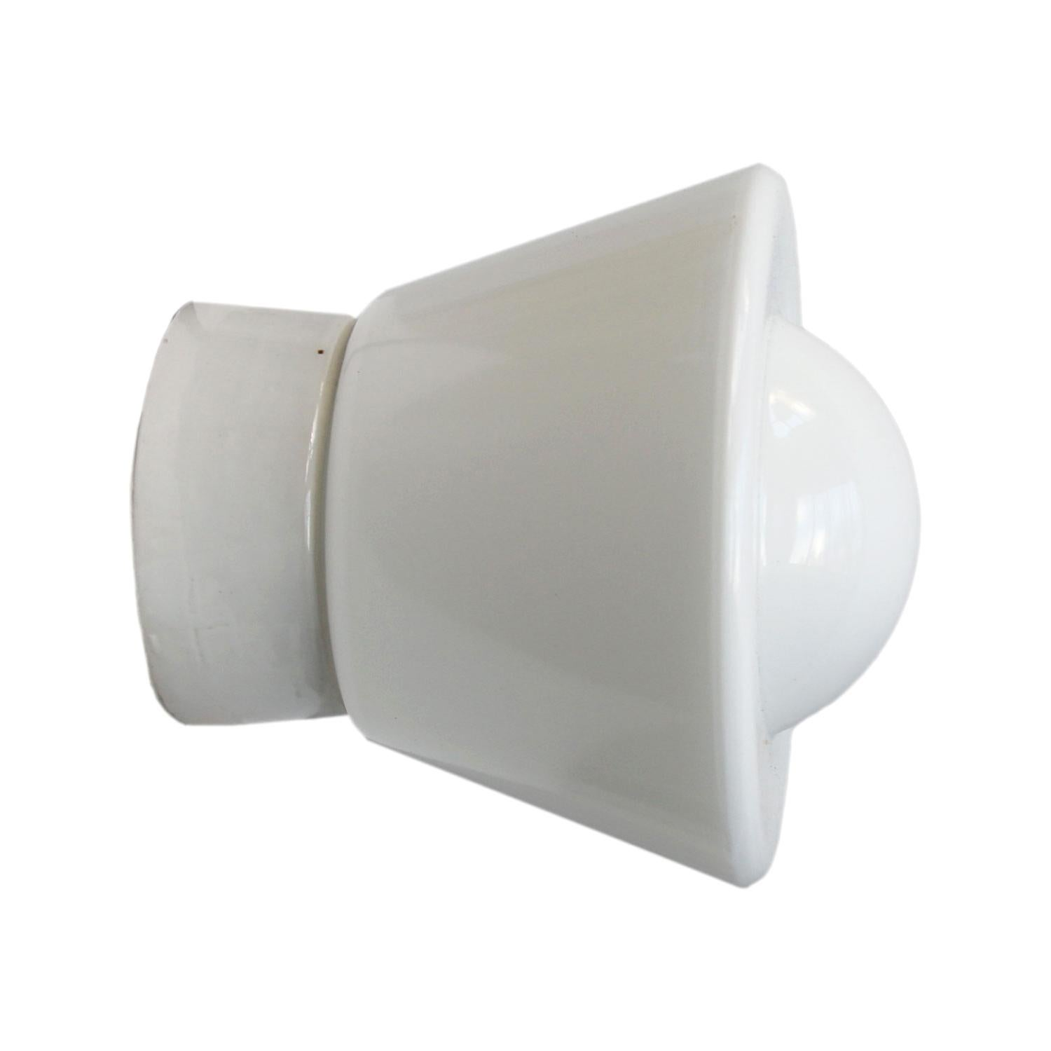 White Porcelain Vintage Industrial Opaline Glass Wall Lamp Scones