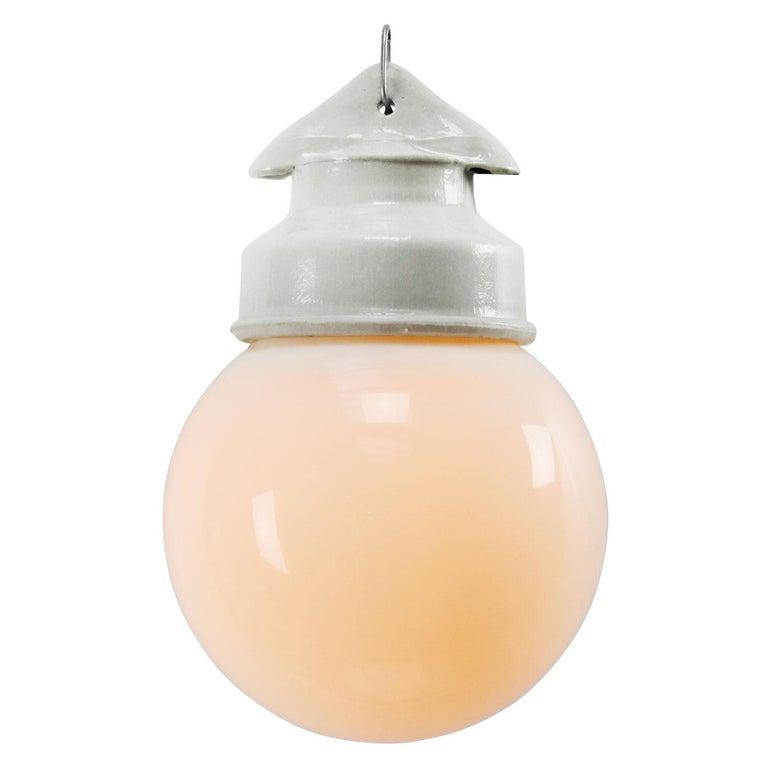 French White Porcelain Vintage Industrial Opaline Milk Glass Pendant Lights For Sale
