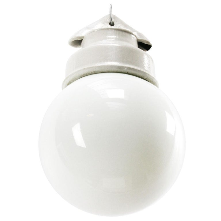 White Porcelain Vintage Industrial Opaline Milk Glass Pendant Lights In Good Condition For Sale In Amsterdam, NL