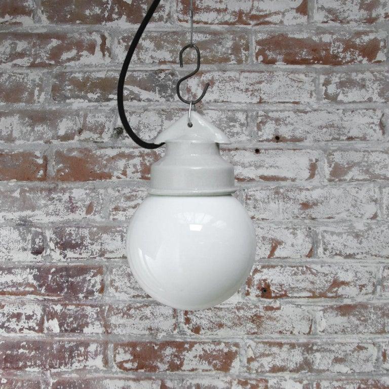 20th Century White Porcelain Vintage Industrial Opaline Milk Glass Pendant Lights For Sale