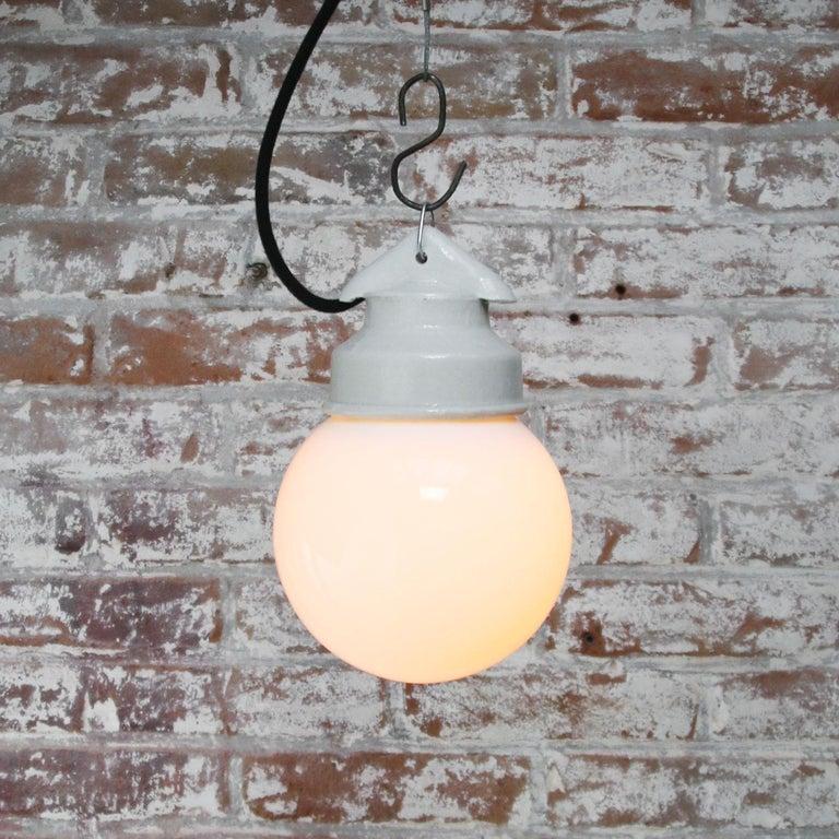 White Porcelain Vintage Industrial Opaline Milk Glass Pendant Lights For Sale 1