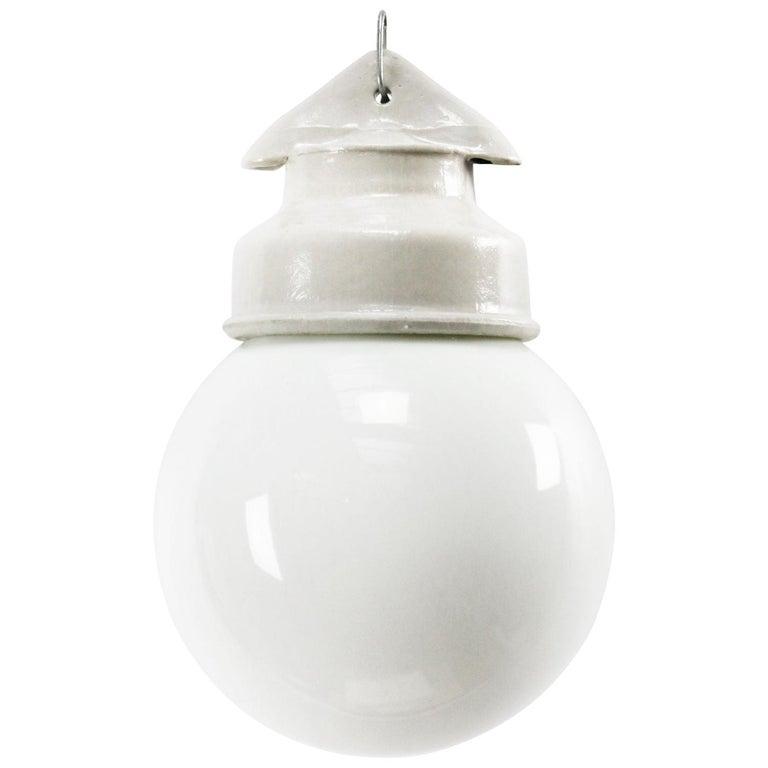 White Porcelain Vintage Industrial Opaline Milk Glass Pendant Lights For Sale