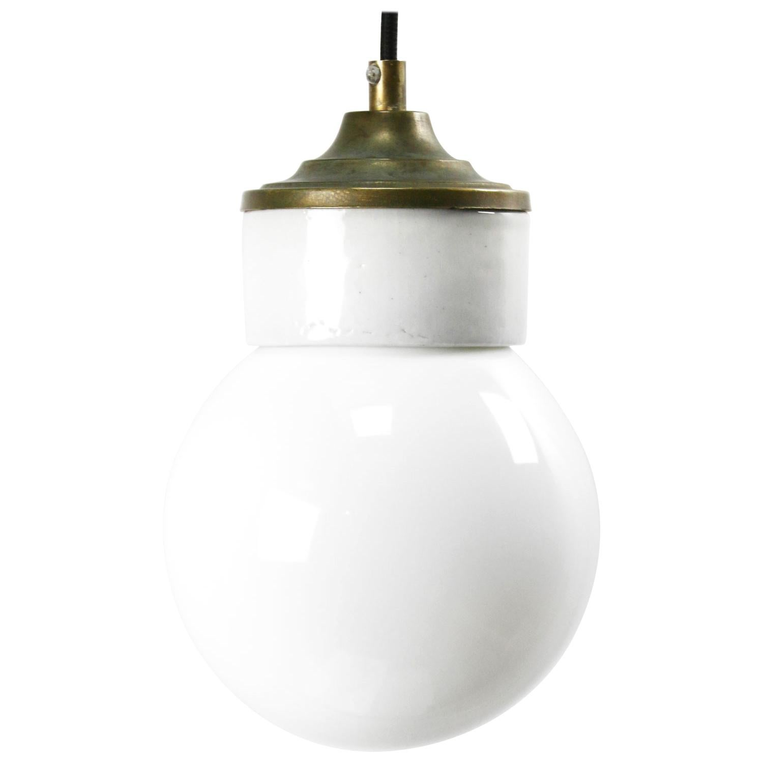 White Porcelain White Opaline Glass Vintage Industrial Brass Pendant Lights