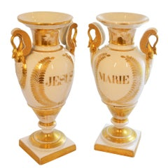 White Porcelain with Gold Detail Ceremonial Vases, Pair