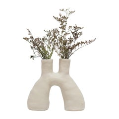 White Portal Stoneware Vase by Camila Apaez