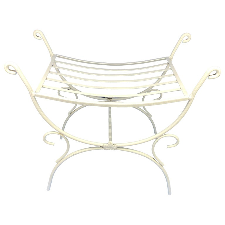 Modern White Powder-Coated Metal Stool Or Bench For Sale