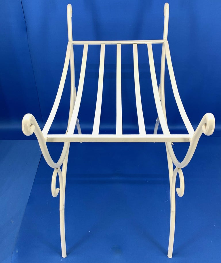 White Powder-Coated Metal Stool Or Bench For Sale 1