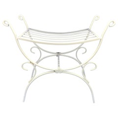 White Powder-Coated Metal Stool or Bench
