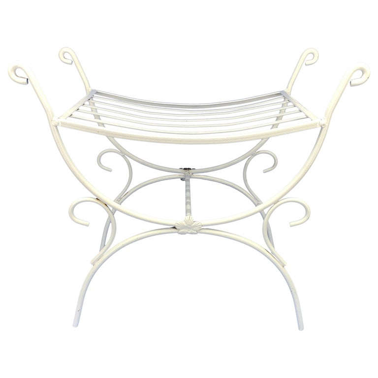 White Powder-Coated Metal Stool Or Bench For Sale