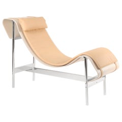White Powder-Coated Steel Curved Leather Platform and Cushion Chaise Lounge