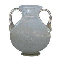 White Pulegoso Murano Glass Vase 1950s Seguso Italian Design