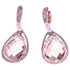 White Quartz and Diamond Earrings 14 Karat White Gold with Black Enamel